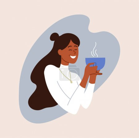 Illustration pour Happy smiling female character is enjoing her coffee. Young woman is drinking fresh hot coffee from a big cup. Concept of girls poses in everydays life. Flat cartoon vector illustration - image libre de droit