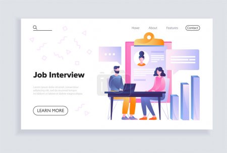 Illustration pour Male HR manager is interviewing young woman in the office. Concept of recruitment and job management. HR occupation. Website, web page, landing page template. Flat cartoon vector illustration - image libre de droit