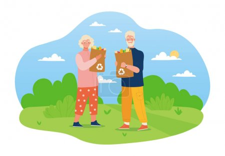 Illustration pour Elderly couple standing in the field with reusable bags. Male and female characters with paper bags full of organic food. Concept of healthy eating, waste recycling. Flat cartoon vector illustration - image libre de droit