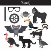 Black Learn the color Education set Illustration of primary c