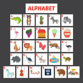 Children alphabet with cute cartoon animals and other funny elements ABC Vector illustration