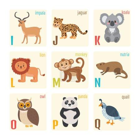 Photo pour Alphabet zoo mignon avec des animaux dans le style de dessin animé. Impala, jaguar, koala, lion, singe, nutria, hibou, panda, caille. Illustration vectorielle - image libre de droit