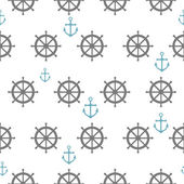 Seamless pattern with gray rudders and blue anchors Nautical th