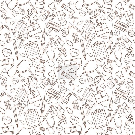 Illustration for Seamless pattern with medical icons on white background. Vector illustration - Royalty Free Image