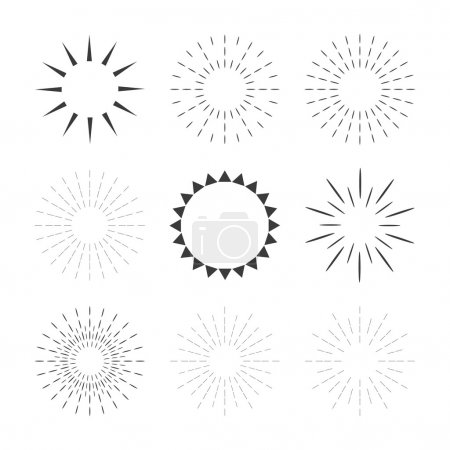Set of sparkles and starbursts with rays. Design elements