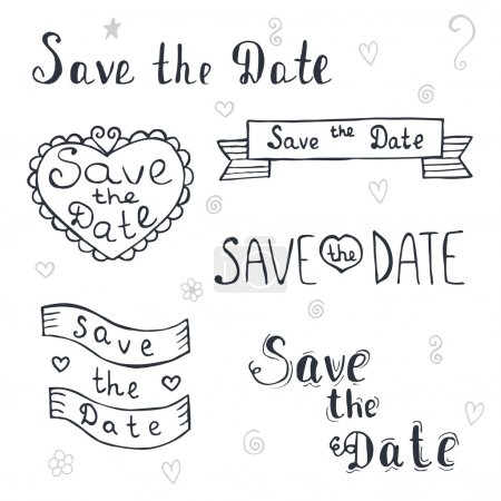 Illustration for Save the date. Wedding invitation. Romantic set with hand drawn labels. Vintage typographic design elements. Vector illustration - Royalty Free Image