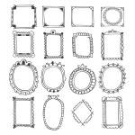 Vintage hand drawn frames.  Doodle set of design e...