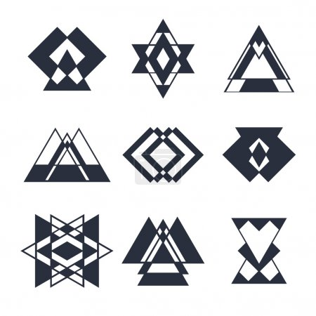 Set of abstract geometric elements, trendy hipster logo, busines