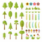 Set of flat forest elements. Include mushrooms, grass, berries,