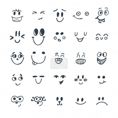 Illustration for Set of hand drawn funny faces. Cute cartoon emotional faces set. Vector illustration - Royalty Free Image