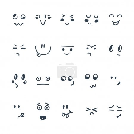 Illustration for Sketched facial expressions set. Set of hand drawn funny cartoon faces. Vector illustration - Royalty Free Image