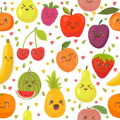 Seamless pattern with happy fruits Cute background