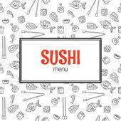Restaurant sushi menu design Menu template with hand drawn back