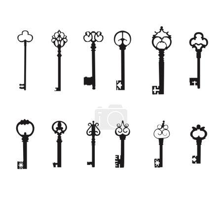 Illustration pour Vector keys silhouette set. Antique Keys, design element - image libre de droit