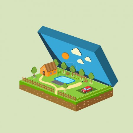 Vector piece of land and sky with objects
