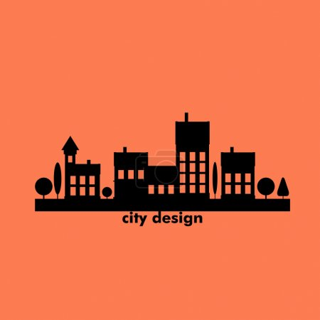 Illustration for Color flat contours of the urban landscape. - Royalty Free Image