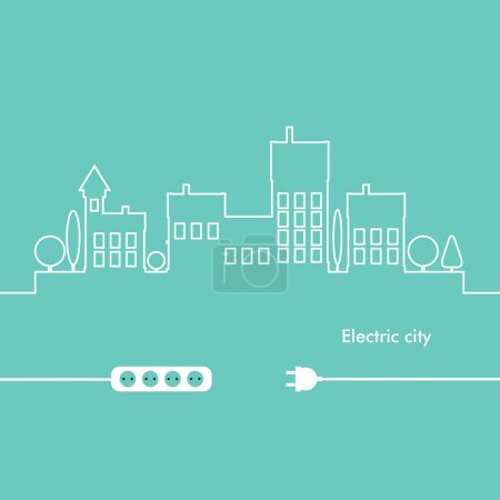 Photo for Concept electric circuit city. Vector flat design. - Royalty Free Image