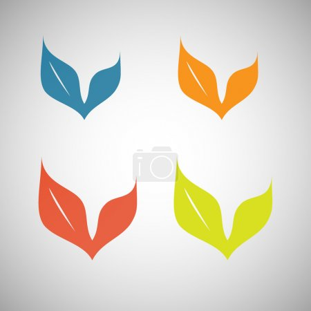 Illustration pour Ensemble vectoriel de symboles de feuilles simples - image libre de droit