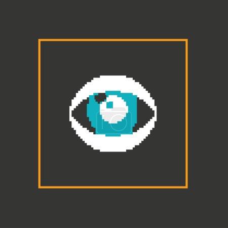 Simple stylish pixel eye icon.