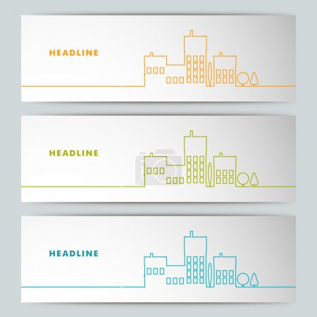Illustration for Set of vector  banners with contour urban landscape - Royalty Free Image