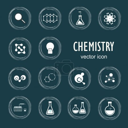 Illustration for Set vector icons in chemistry, biology, medicine. - Royalty Free Image
