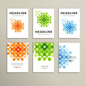 Six vector pattern with abstract figures brochures