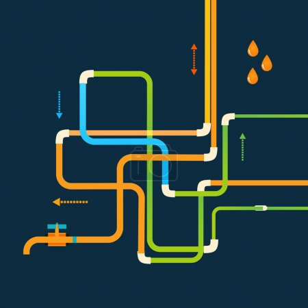 Vector color abstract design tangled pipes eps.