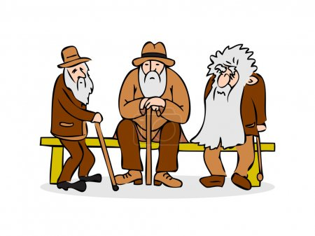 Funny three old men sitting on the bench. Old man with hat and walking cane. Sad grandfather with a long beard sitting on a bench. Old group talk. Colorful cartoon vector illustration on white background