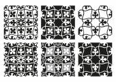 Vector set of seamless floral patterns black and white vintage backgrounds