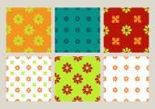 Colorful set of seamless floral patterns vintage backgrounds