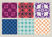 Colorful set of seamless floral patterns vintage backgrounds collection vector