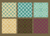 Colorful set of seamless floral patterns vintage backgrounds