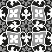 Vector seamless floral patterns black and white vintage background
