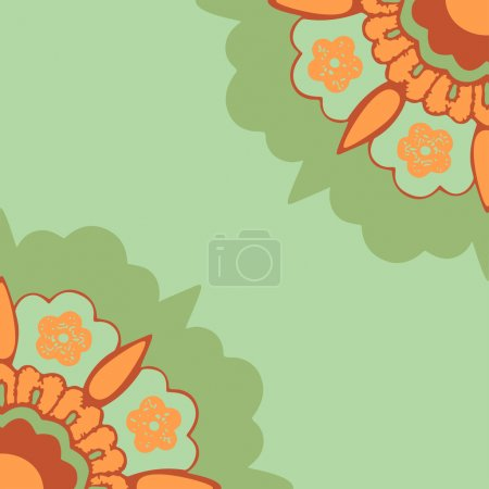 Ornamental corners flowers silhouette pattern