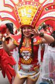 Pretty Young Woman Marches in Carnival Parade, Peru