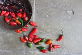 Colorful Chili Peppers, Dried and Fresh