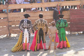 Three Matadors Pose in Bullring in Peru