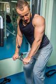 Sportovec ukazuje svaly. Práce na své tělo a dosáhnout cíle. Fotografie pro sportovní časopisy a weby