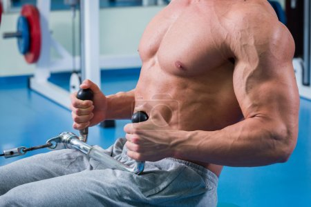 Photo for Muscular man working out with weights in gym. Man makes exercises. - Royalty Free Image