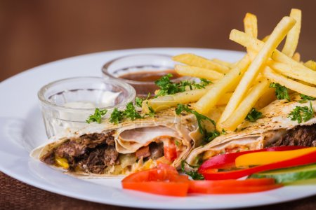 Shawarma with potatoes and vegetables