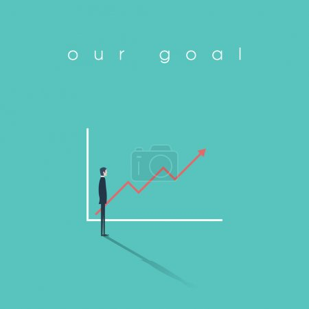 Businessman looking at a graph with sales or profit going up. Positive trend symbol of success. Business concept illustration.