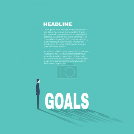 Business goals professional presentation template with businessman illustration and space for text. Flat design style.