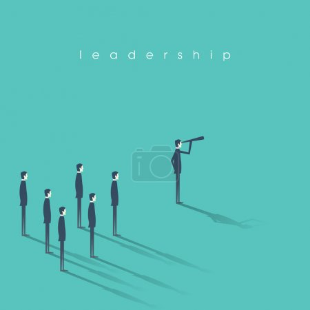 Business leadership concept illustration with businessman and telescope leading other men. Vision, success abstract symbol.