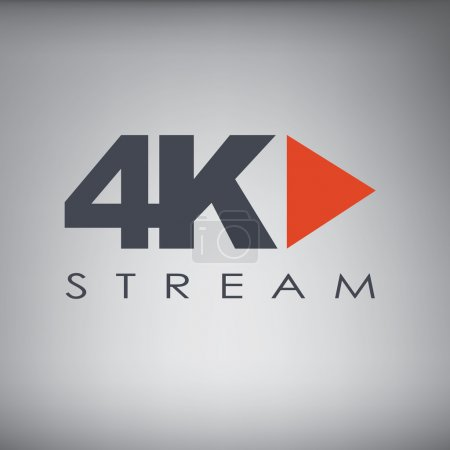 Symbol of Ultra HD streaming or playing video online content for screens and tvs with 4k resolution.