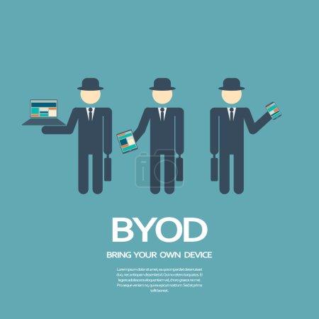 Illustration pour Apportez votre propre appareil, BYOD, illustration de concept avec divers appareils. Illustration vectorielle Eps10 - image libre de droit