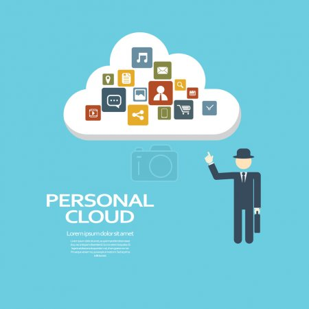 Personal cloud computing concept for private and business. Eps10 vector illustration.