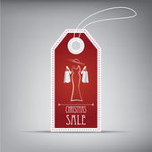 Christmas sales tag with vintage elements and stylish figure Eps10 vector illustration