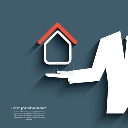 Illustration for Real estate agent offering housing. Eps10 vector illustration - Royalty Free Image