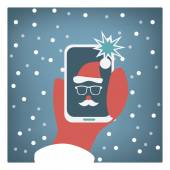 Santa claus taking selfie funny christmas card design