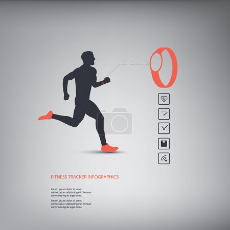 Fitness tracker or smart watch wearable technology infographics with set of icons for fitness trackers.